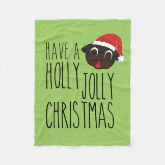 ヒイラギのすてきなクリスマスの黒のパグのサンタ毛布 フリースブランケット