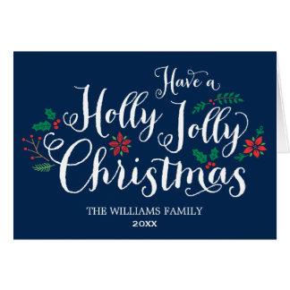 ヒイラギのすてきなクリスマスカード|の濃紺 グリーティングカード