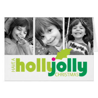 ヒイラギのすてきなクリスマス3の写真の挨拶状を持って下さい カード