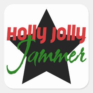 ヒイラギのすてきな妨害機、ローラーのダービーのスケートで滑るのクリスマス スクエアシール