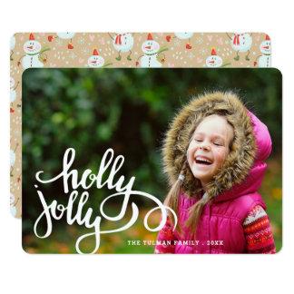 ヒイラギのすてきな雪だるまの写真の休日カード 12.7 X 17.8 インビテーションカード