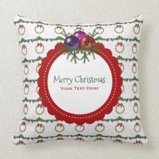 ヒイラギのカスタムのクリスマスのリースパターン クッション
