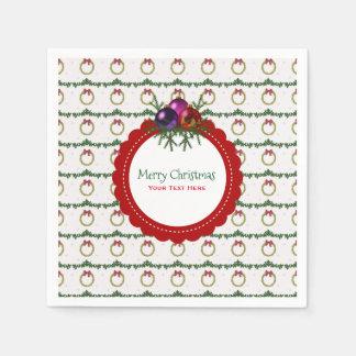 ヒイラギのカスタムのクリスマスのリースパターン スタンダードカクテルナプキン