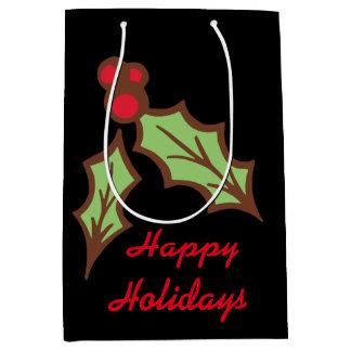ヒイラギのクリスマスの休日のギフトバッグ ミディアムペーパーバッグ