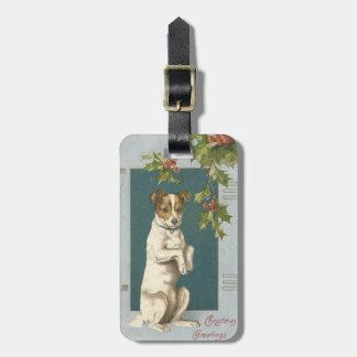 ヒイラギのクリスマスの挨拶を頼んでいる犬 ラゲッジタグ