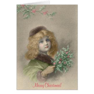 ヒイラギのクリスマスの若い女の子 カード