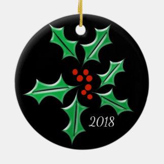 ヒイラギのクリスマスの黒のレトロの葉のカスタムの休日 セラミックオーナメント
