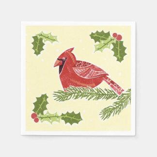 ヒイラギのクリスマスDesigの枝の基本的な鳥 スタンダードカクテルナプキン