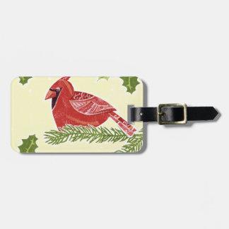 ヒイラギのクリスマスDesigの枝の基本的な鳥 ラゲッジタグ