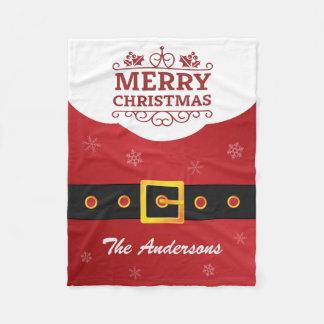 ヒイラギのメリークリスマスのおもしろいなサナクロースベルト フリースブランケット