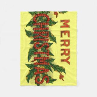 ヒイラギのメリークリスマス フリースブランケット