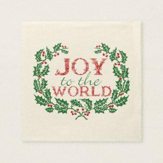 ヒイラギのリースの「Worldへの喜び スタンダードカクテルナプキン