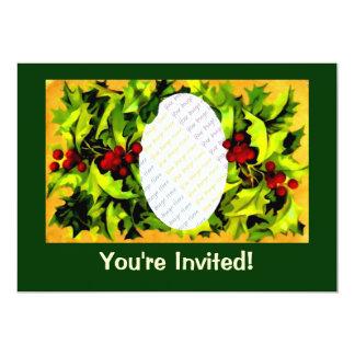 ヒイラギの写真フレームの名前入りな招待 カード
