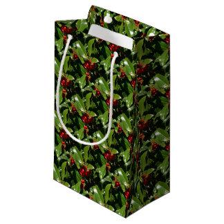 ヒイラギの果実のクリスマスの包装紙 スモールペーパーバッグ