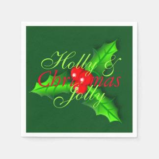 ヒイラギの果実のクリスマス スタンダードカクテルナプキン