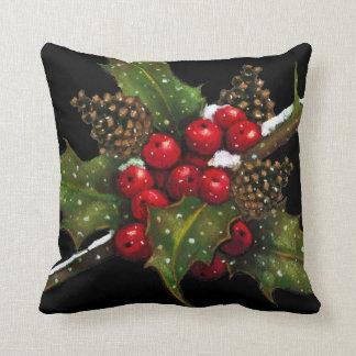 ヒイラギの果実: 黒のクリスマスの絵画: 芸術 クッション