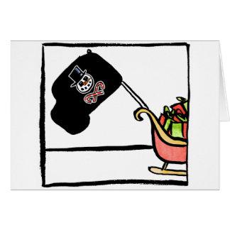 ヒイラギの海賊旗のクリスマスカード カード