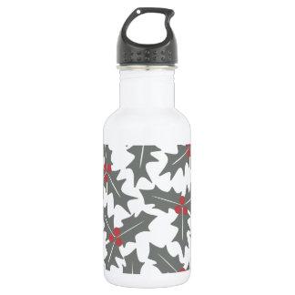 ヒイラギの花柄パターン ウォーターボトル