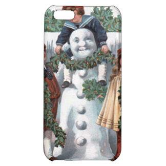 ヒイラギの花輪の雪だるまをつるしている子供 iPhone 5C CASE