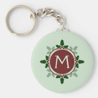 ヒイラギはモノグラムに緑の赤いクリスマスの休日を去ります キーホルダー