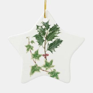 ヒイラギ及びキヅタの小枝の植物の水彩画のクリスマス セラミックオーナメント