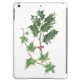ヒイラギ及びキヅタの小枝の植物のiPadの空気箱
