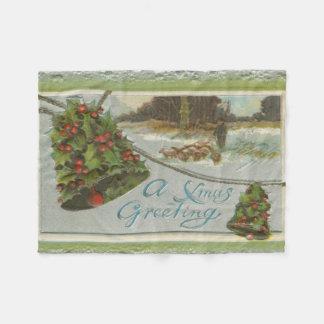 ヒイラギ鐘とのヴィンテージのクリスマスの朝 フリースブランケット