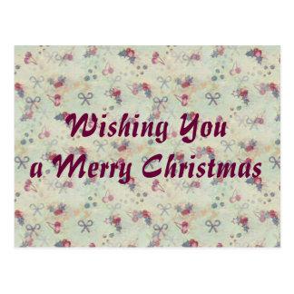 ヒイラギ、さくらんぼおよび弓クリスマスの郵便はがき ポストカード