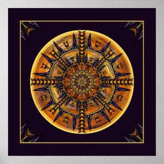 ヒエログリフのガの曼荼羅の芸術のプリント ポスター