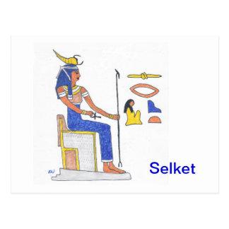ヒエログリフを持つ郵便はがきのエジプトの女神Selket ポストカード