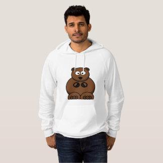 ヒグマの白いフード付きスウェットシャツのセーター パーカ