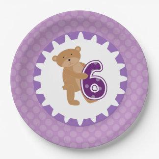 ヒグマの第6誕生日の紙皿 ペーパープレート