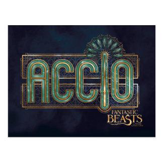 ヒスイのアールデコのAccioの綴りのグラフィック ポストカード