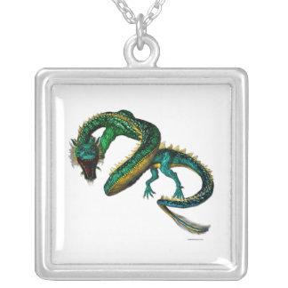 ヒスイのドラゴンのネックレス シルバープレートネックレス
