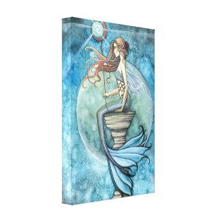 ヒスイの月の人魚のファンタジーの芸術のキャンバスプリント キャンバスプリント