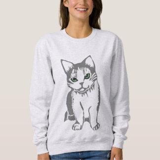 ヒスイを持つ灰色白猫は女性のスエットシャツを注目します スウェットシャツ