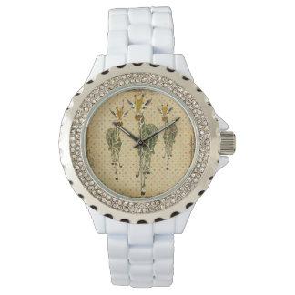 ヒスイ及び金ゴールドのキリンの腕時計 腕時計
