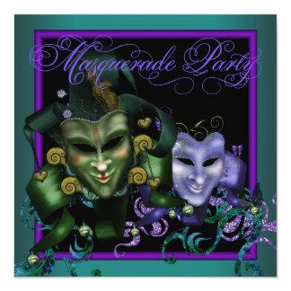 ヒスイ緑および紫色の仮面舞踏会のパーティの招待状 カード