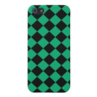 ヒスイ緑および黒い斜めのチェッカーボードのデザイン iPhone 5 カバー