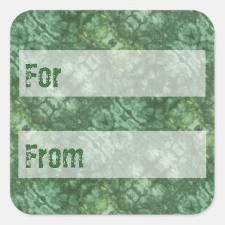 ヒスイ緑のろうけつ染めのスタイルのギフトのラベル スクエアシール