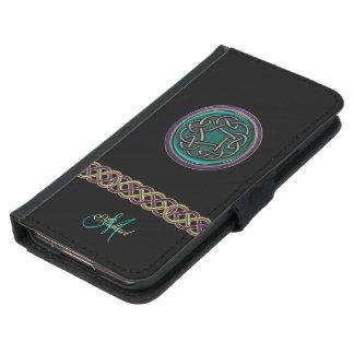 ヒスイ緑のケルト結び目模様のモノグラムのウォレットケース GALAXY S5 ウォレットケース