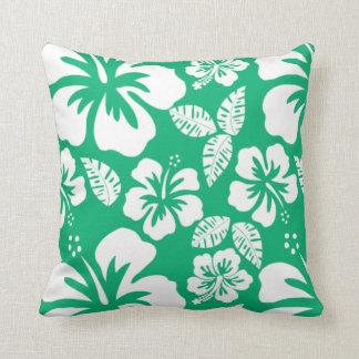 ヒスイ緑のハワイの熱帯ハイビスカス クッション