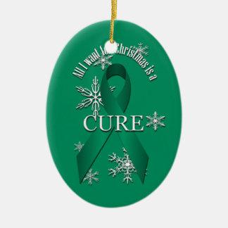 ヒスイ緑の認識度のリボンのクリスマスの治療の雪 セラミックオーナメント