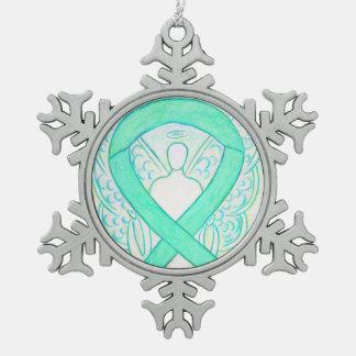 ヒスイ緑の認識度のリボンの天使のオーナメント スノーフレークピューターオーナメント