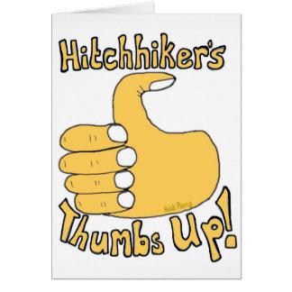 ヒッチハイカーの親指はおもしろいな漫画カードを持ち上げます カード