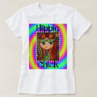 ヒッピーのひよこの60年代の絞り染めの大きい目の人形 Tシャツ