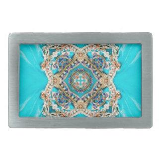 ヒッピーのジプシーの民族のターコイズの水の青いボヘミア人 長方形ベルトバックル