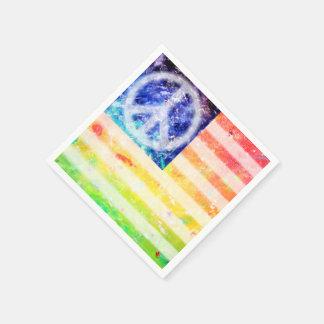 ヒッピーの平和変種の旗 スタンダードカクテルナプキン