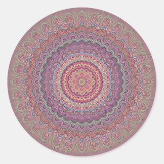 ヒッピーの幾何学的な曼荼羅 ラウンドシール