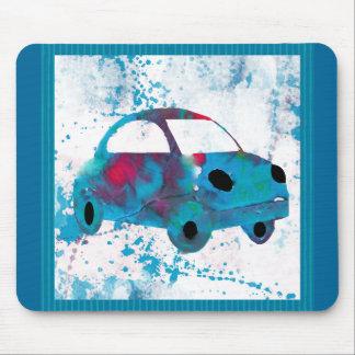 ヒッピーレトロ車の乳母車の水彩画 マウスパッド